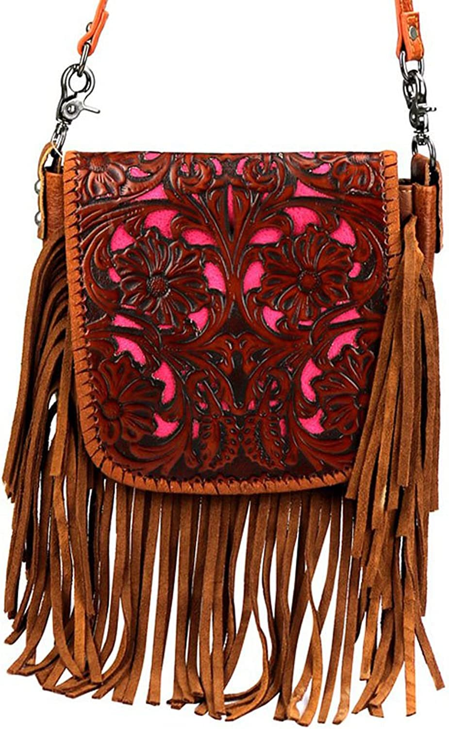 Montana West Leather, Tooled Floral Crossbody Pouch  Brown