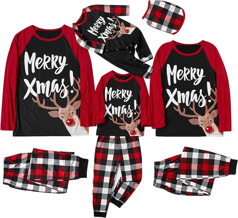 Christmas Pajamas for Family Elk Plaid Nightwear Pjs Clothes Pajamas Set Sleepwear Matching Family Christmas Pajamas