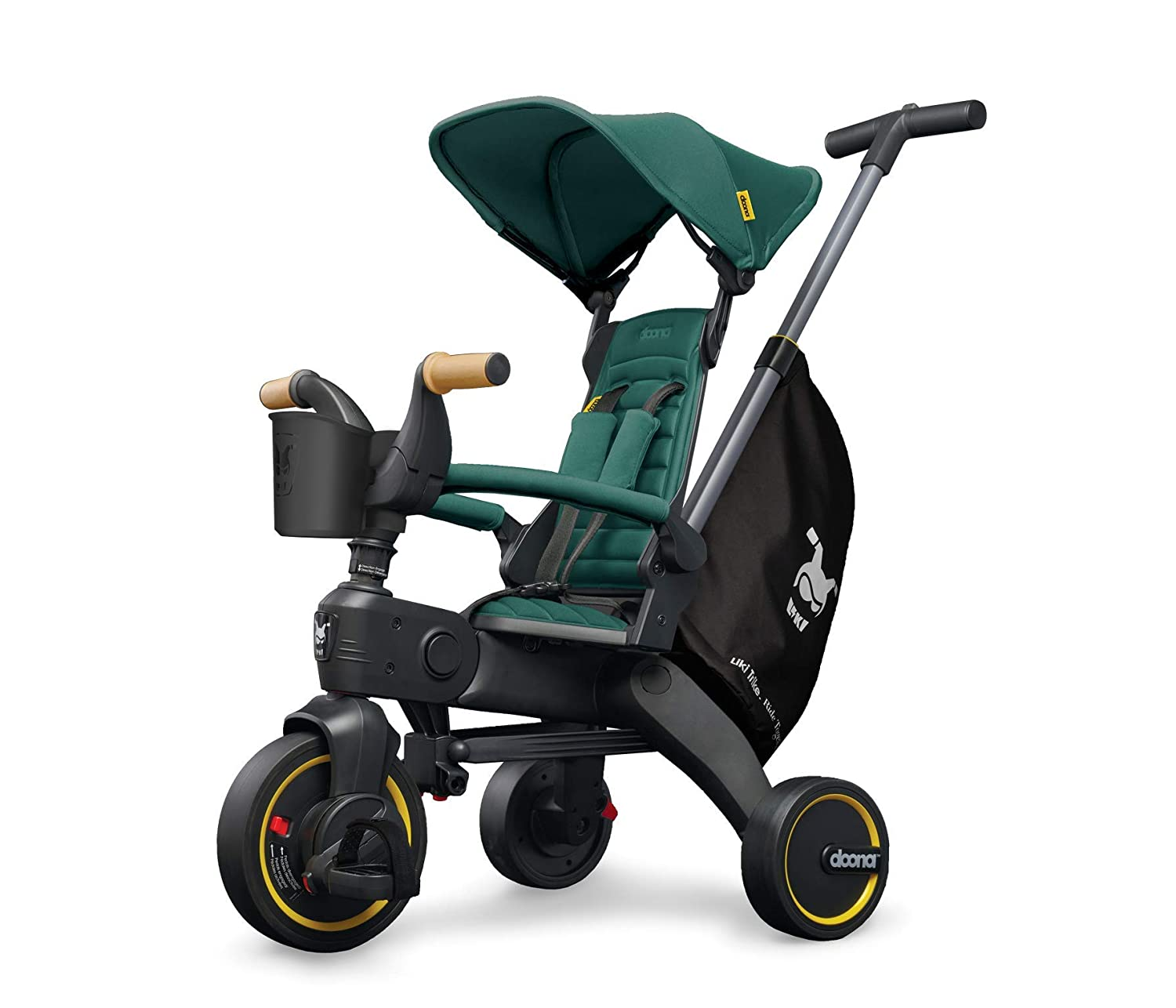 Doona Liki Trike S5 - Premium Foldable Push Trike and Kid's Tricycle for Ages 10 Months to 3 Years, Racing Green