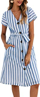 Women's Summer Striped Short Sleeve V Neck Button Down Belted Swing Midi Dress with Pockets