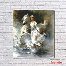 SANSNMI Riding Horse Girl Modern Painting Handpainted Figure Oil Painting Wall Art On Canvas For Living Room Home Decor Pa...