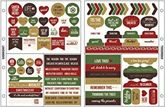 Kaisercraft Captured Moments Pocket Stickers, 6.75 by 8.5-Inch, Christmas Wish Red, Green, Gold and Brown