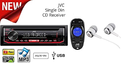 JVC Stereo Car Single DIN In-Dash CD MP3 Car Stereo Receiver Front USB AUX Inputs Android Control AM FM Radio Player with Remote Control / FREE ALPHASONIK EARBUDS