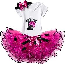 NNJXD Baby Girls Newborn Infant 1st Birthday 3 Pcs Outfits Romper+Tutu Dress+Headband