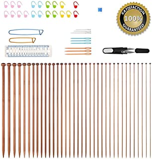 (35CM(13.78 inch)) - Knitting Needles,BCMRUN 36PCS Bamboo Knitting Needles 18 Sizes from 2.0mm to 10.0mm with 34PCS Accessories -35CM(13.78 inch)
