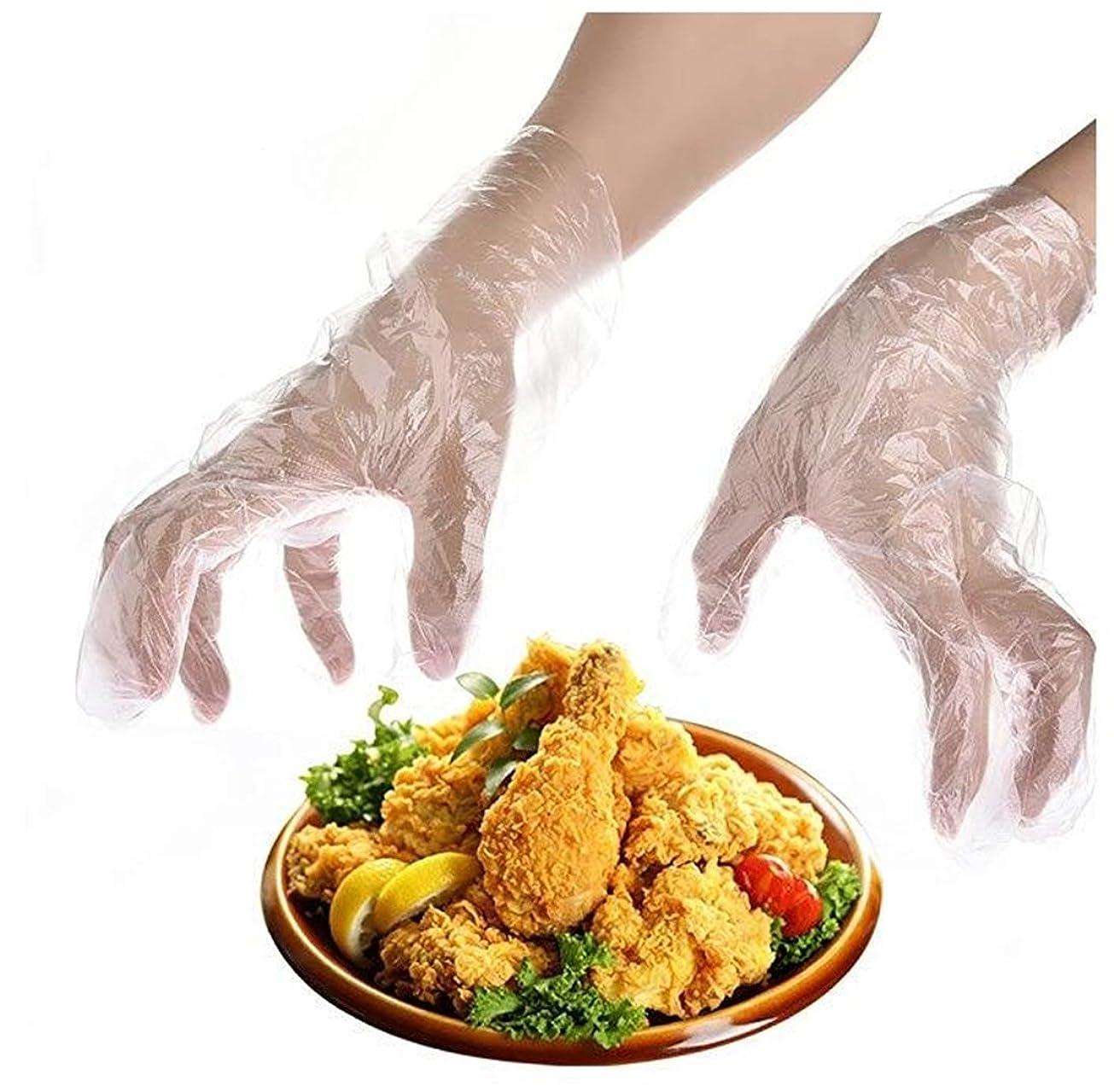 自動バック突っ込むHeyuni.使い捨て手袋 極薄ビニール手袋 ポリエチレン 透明 実用 衛生 100枚
