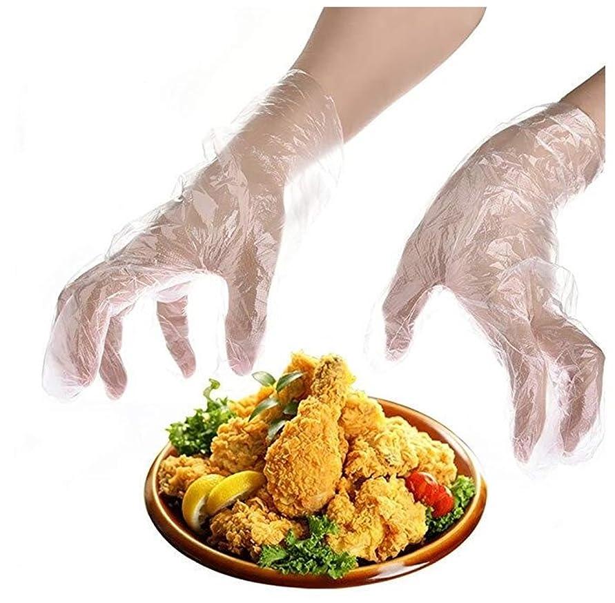 混雑始まり添加Heyuni.使い捨て手袋 極薄ビニール手袋 ポリエチレン 透明 実用 衛生 100枚