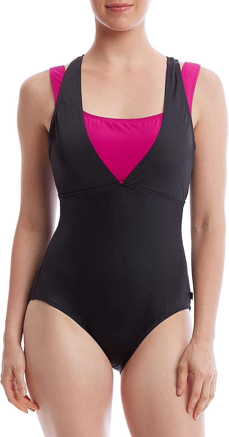 Reebok Womens On The Double Constructed Active One Piece Swimsuit OnePiece Swimsuit