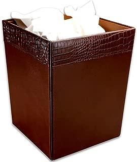 Dacasso Brown Crocodile Embossed Leather Waste Basket