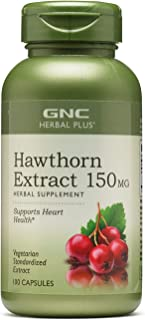 GNC Herbal Plus Hawthorn Extract 150mg, 100 Capsules, Supports Heart Health
