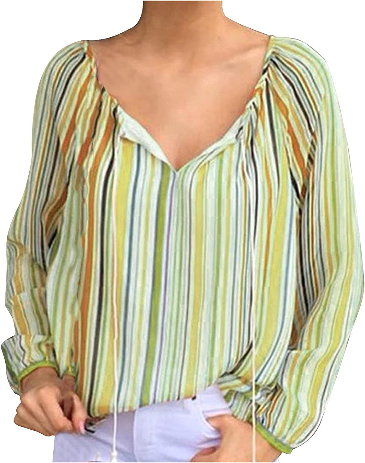 Fashion Blouse for Women V Neck Long Sleeve Vertical Striped T-Shirt Colorful Drawstring Casual Top for Spring