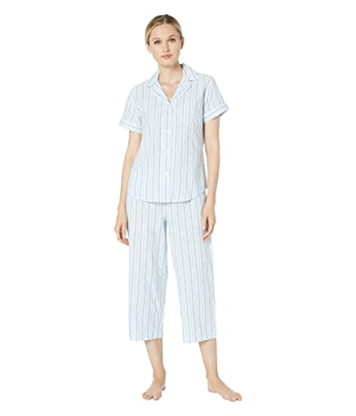 LAUREN Ralph Lauren Short Sleeve Pointed Notch Collar Capri Pants Pajama Set (Blue Stripe) Women
