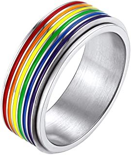 Bandmax 7.8mm Width Stainless Steel Silver Ring for Women Men Pride Parade Gay LGBT Rainbow Ring for Lover Wedding Engagem...