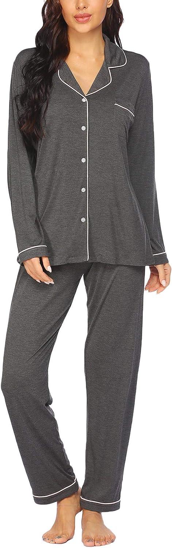 FineFolk Pajamas Set for Women Ranking TOP3 Sleeve Down Button outlet Long Nightwear