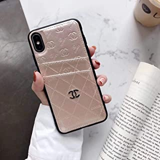 New Phone case for iPhone Xs Max Case, Elegant Street Fashion Luxury Designer PU Leather Heart Slim Fit Shockproof Cover Case for iPhone 6 6S 7 8 Plus X XS XR XS MAX (Beige, iPhone 11 Pro Max)