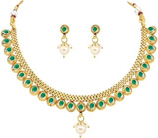 Jewelsiya Gold Plated Tear Drop Shape Blue Kundan Indian Necklace and Earring Jewellery Set for Womens and Girls