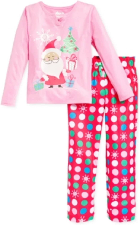 Sleep On It Girls' or Little Girls' 2-Piece Santa Pajamas, 4/5, Pink