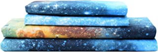 Bedlifes Galaxy Sheets Outer Space 3D Sheet Set Galaxy Theme Bedding sets 4PCS Bed Sheet& Fitted Sheet with 2 Pillowcases Blue Full