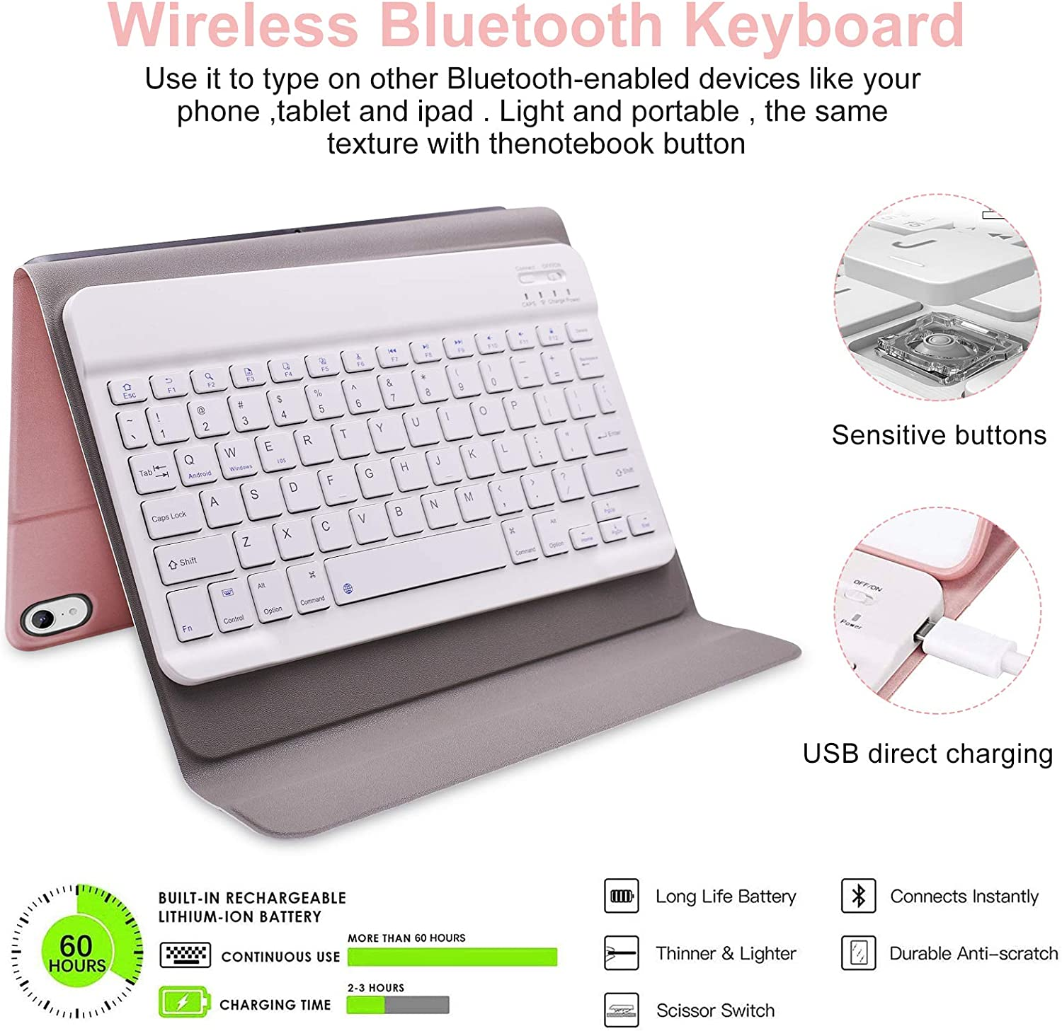 Rosegold Keyboard Case for iPad Air 4th Gen with Magnetically Detachable Wireless Keyboard for iPad Air 4th Generation 2020 10.9//iPad Pro 11 2018 New iPad Air 4 Keyboard Case 10.9 2020