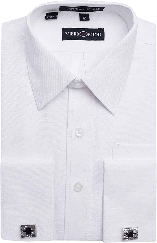Viero Richi Boys 4 – 20 Camisa de Puño Francés Gemelos, Diseño de Tamaños de & Husky Regular (Incluidas)