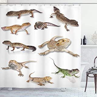 Ambesonne Reptile Shower Curtain, Colorful Staring Leopard Gecko Family Image Primitive Reptiles Wildlife Art Print, Cloth Fabric Bathroom Decor Set with Hooks, 75