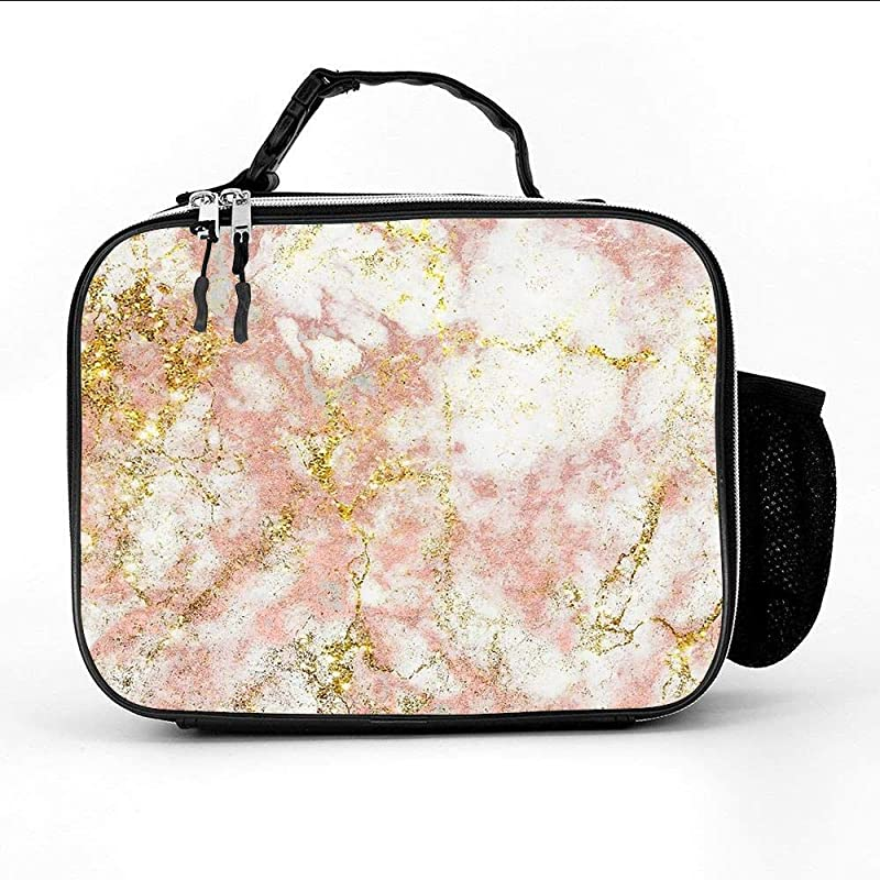 Rose Gold Marble Elegant Marbled Patterns Insulated Neoprene Lunch Bag Removable Shoulder Strap Reusable Thermal Thick Lunch Tote Lunch Box Cooler Bag For Women Teens Girls Kids Adults