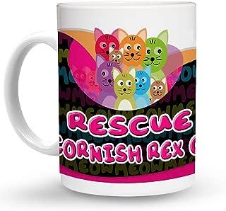 Makoroni - RESCUE A CORNISH REX CAT Cat Cats Mug - 11 Oz. Unique COFFEE MUG, Coffee Cup