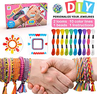 Colorful Ropes Beads Kit for Bracelet Making Kit for Girls Kids Friendship Bracelet Kit with 10 Colors of Colored Cotton T...