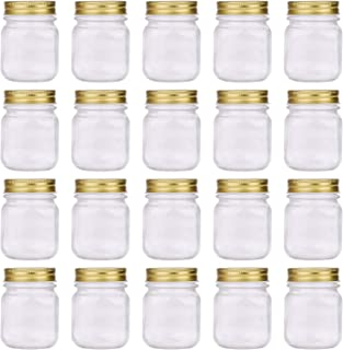 Regular Mouth Mason Jars,Encheng 5oz Clear Glass Jars with Lids(Gold),Small Spice Jars for Herb,Jelly,Jams,Wedding Favors,...