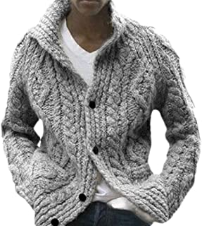 Loyomobak Mens Winter Button Front Long Sleeve Cable Knitted Sweater Cardigan Coat