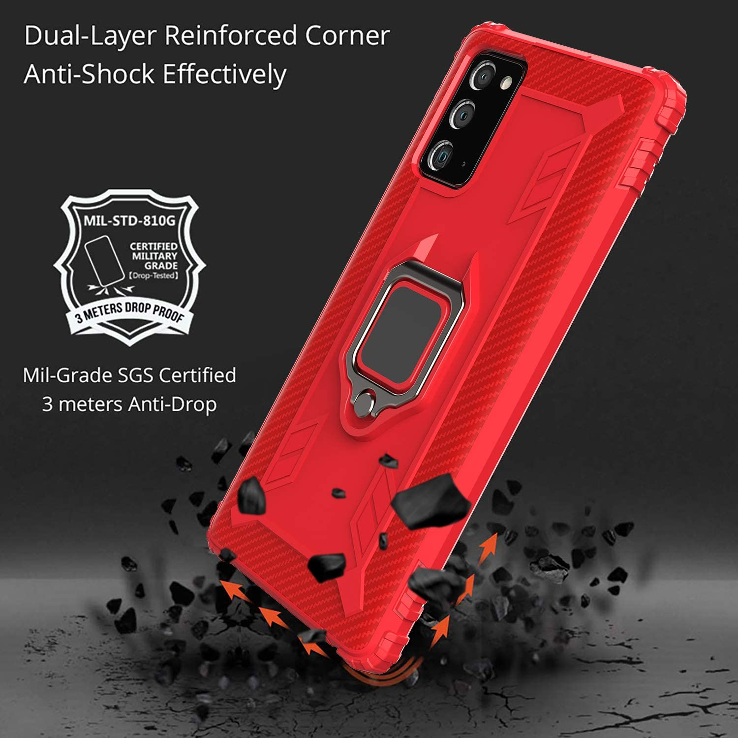 Rugged Armor Protective Cases Red TPU Silicone Cover with 360/° Kickstand Fan Edition Shockproof Bumper Shell TANYO Phone Case for Samsung Galaxy S20 FE