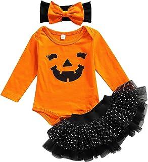 3PCS Baby Girls Halloween Clothes Long Sleeve Pumpkin Face Romper Tutu Skirt + Headband