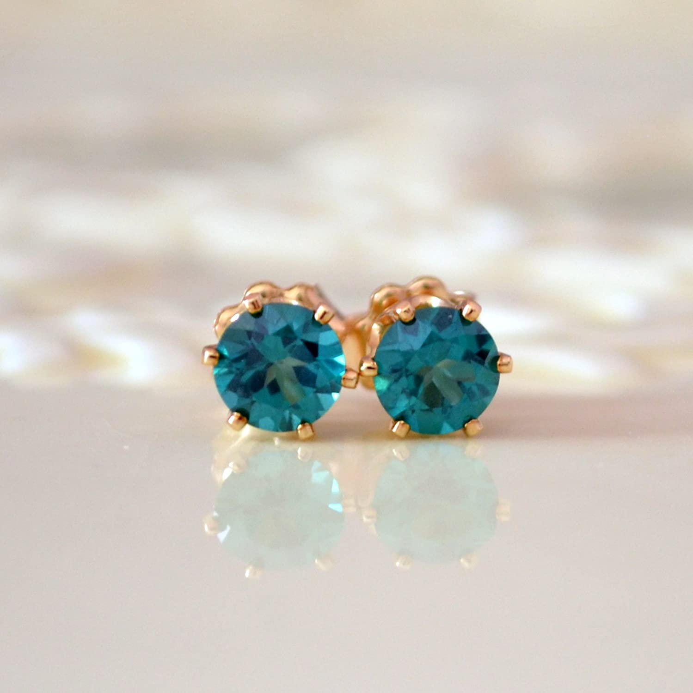 Green Daily bargain sale Topaz Stud Gold Seasonal Wrap Introduction in Earrings