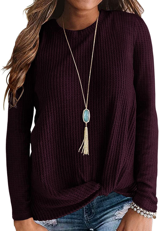 WNEEDU Womens Casual 5 popular Top Long Sleeve Knot Cute Free Shipping Cheap Bargain Gift Knit Waffle Twist