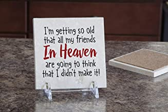 product image for Imagine Design Relatively Funny I'm Getting So Old, Travertine Coaster, Red/Black/White