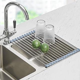 """قفسه خشک کن ظروف را بچرخانید ، آشپزخانه خشک کن ظروف آشپزخانه Seropy Over the Sink Dish خشک کن ، آشپزخانه قابل شستشوی ملافه از ظرف ضد زنگ قفسه خشک کن ظرف برای ظرفشویی آشپزخانه (17.8 """"x11.8"""")"""