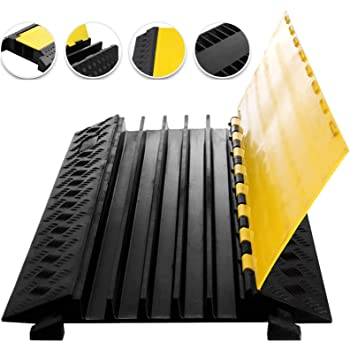 Heavy Duty Black Rubber Floor Cable Wire Cover Protector Safety Trunking Ramp F