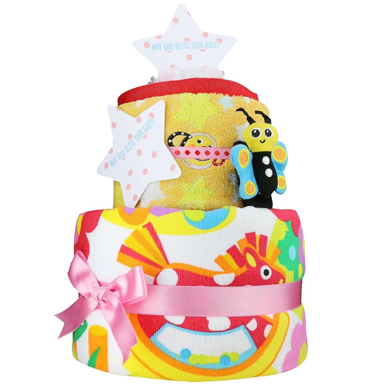 サッカーめまいが知的Sassy おむつケーキ 2段 女の子向け(ピンク系) ムーニーテープタイプLサイズ