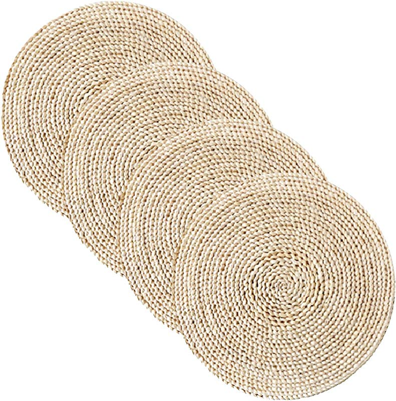 Wellhouse Corn Straw Braided Dining Table Mats Extra Thick Coasters Mat Natural Handmade Woven Table Placemat Insulation Resuable Pad 13 8 4pack