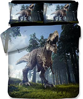 Sport Do Dinosaur 3D Reactive Printed Bedding Sets, Twin Size Duvet Cover Set Pillow Covers for Boys Adults Bedroom Set (Full)