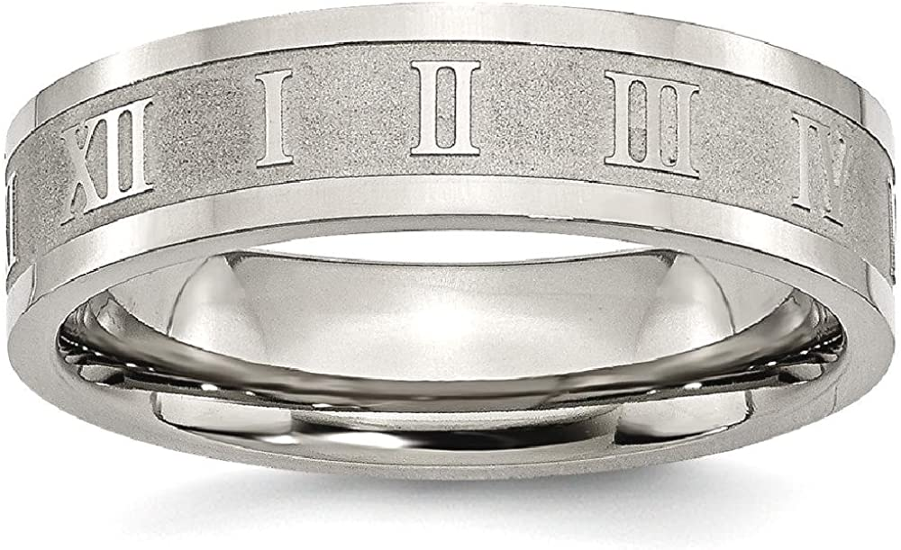 ICE CARATS Titanium Roman Numerals 6mm Flat Wedding Ring Band Designed Fashion Jewelry for Women Gifts for Her
