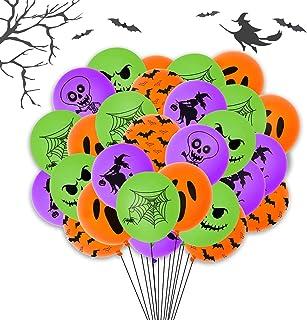 Halloween Balloons - 60 Pcs Halloween Orange Green Purple Balloons Set, 12 Inch Spider Web Bat Ghost Latex Balloons for Ha...