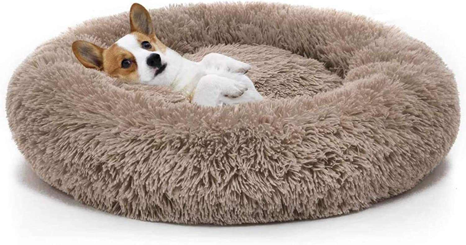 Washable Round Calming Dog Bed Soft Pet Cuddler Plush Beds Donut Safety and Limited time for free shipping trust