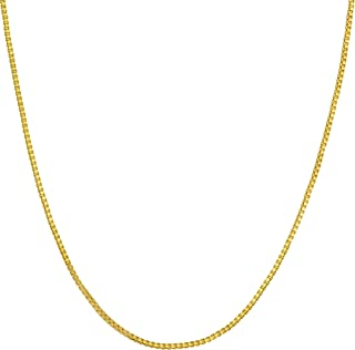 Lifetime Jewelry 1mm Box Chain Necklace for Women and Men 24k Real Gold Plated