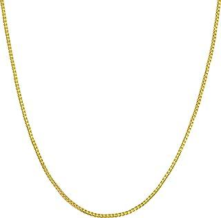 عقد ذهبي للمجوهرات مدى الحياة للنساء والرجال [سلسلة مربعة 1 مم] طلاء 20 مرة أكثر من مجوهرات الذهب الأخرى - قلادة ذهبية أني...
