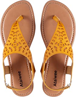 Women's Casual Wear Flat Sandals with T-Strap Thong Toe Back Strappy Wide Summer Shoes.