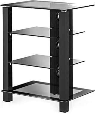 FITUEYES 4-Tier AV Media Stand Component Cabinet and Hi-Fi Rack Audio Tower with Height Adjustable Tempered Glass Shelves, AS