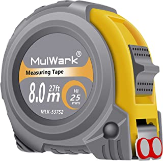 MulWark 26ft Measuring Tape Measure by Imperial Inch Metric Scale with Both-Side Metal Blade,Magnetic Tip Hook and Shock A...