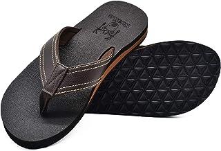 KuaiLu Tongs Hommes été Cuir en Tissu Plage Sandales Mousse de Yoga Piscine Chaussures