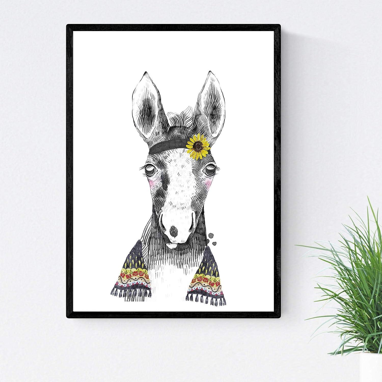 Lámina infantil Caballo bebe con pañuelo y flores poster animales infantiles Tamaño A4 Sin marco